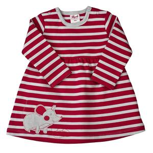 Tunika Babykleid - rot grau geringelt - People Wear Organic