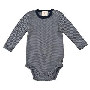 Wolle Seide Langarmbody - blau geringelt - People Wear Organic