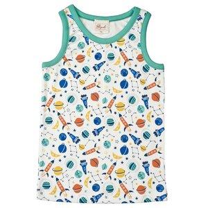 Unterhemd - weiß mit Weltall Muster - People Wear Organic