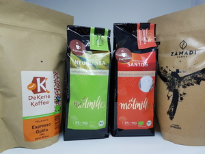 Probierpaket Espresso, 4 x 250 g - ZAMADI, DeKene, el molinillo