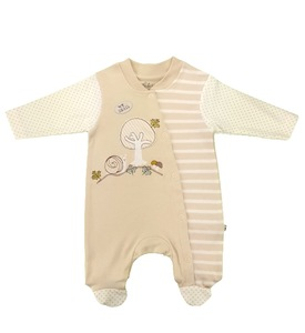 Baby Strampler creme geringelt Bio Baumwolle - EBi & EBi