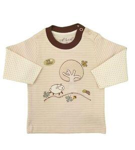Baby Langarm Shirt beige melange Stickerei Bio Baumwolle - EBi & EBi