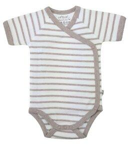 Baby Kurzarm Wickelbody beige melange Bio Baumwolle - EBi & EBi