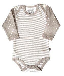 Baby Langarm Body beige melange Bio Baumwolle - EBi & EBi