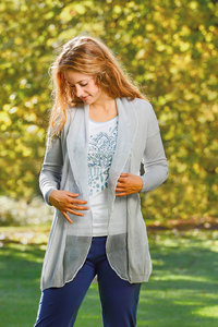 Strick Cardigan mit Seide silber - The Spirit of OM