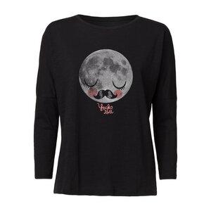 Yackfou Moon Damen Drop-Shoulder Longsleeve black Bio & Fair - Yackfou