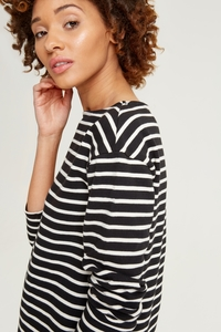 Gia Stripe Top Black - People Tree