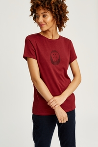 Hedgehog Print Tee Burgundy - People Tree