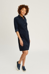 Jaden Corduroy Shirt Dress Navy - People Tree
