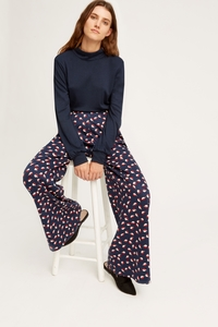 V&A Seed Print Wide Leg Trousers Navy - People Tree