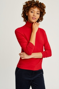 Laila Roll Neck Top Red - People Tree
