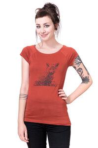 Bio-& Fair-Trade-Frauenshirt 'Kleiner Fuchs' rostot - Hirschkind