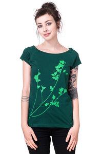 "Bio-& Fair-Trade-Frauenshirt ""Liguster"" grün - Hirschkind"