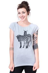 Bio-& Fair-Trade-Frauenshirt 'Verliebte Zebras' hellgrau - Hirschkind