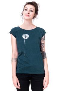 Frauenshirt 'weiße Pusteblume' auf Tannengrün - Hirschkind