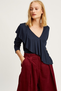 Brianna Frill Top Navy - People Tree