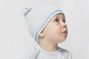 Babymütze unisex grau aus reiner Biobaumwolle kbA - green astronaut