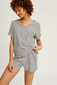 Stripe Pyjama Short Sleeve Top Navy - People Tree