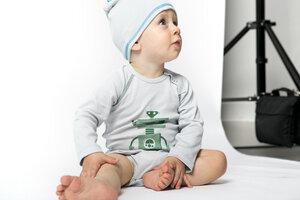 Babybody langarm bedruckt unisex aus reiner Bio Baumwolle kbA - green astronaut