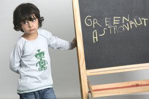 Raglan Langarm Shirt mit Aufdruck aus reiner Biobaumwolle kbA - green astronaut