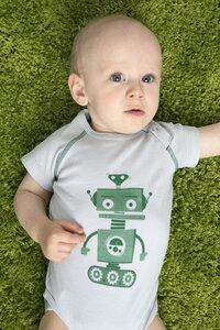 Babybody bedruckt kurze Ärmel unisex aus reiner Bio Baumwolle kbA - green astronaut