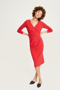 Irene Wrap Dress Red - People Tree