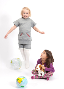 Sweatshirt für Mädchen kurzarm aus reiner Bio-Baumwolle kbA - green astronaut