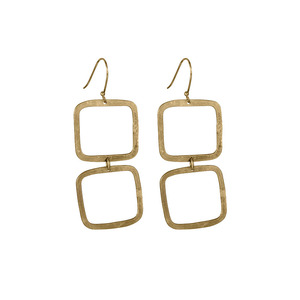 Square Drop Earrings Brass - People Tree