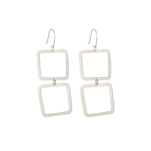 Square Drop Earrings Silver - People Tree