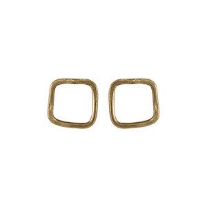 Square Stud Earrings Brass - People Tree