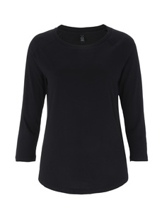 Tencel Blend Raglan 3/4 T-Shirt - schwarz - Continental Clothing