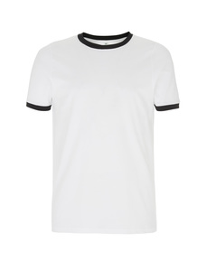 Organic T-Shirt - GOTS - White/Black Ringer - Continental Clothing
