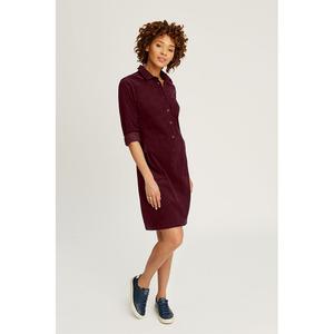 Jaden Corduroy Shirt Dress Burgundy - People Tree