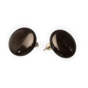 Tagua Ohrstecker Ohrring groß schwarz d=2,5 cm - Bea Mely