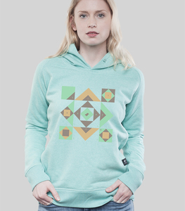 Hoodie Women Mid Heather Green 'Squared - SILBERFISCHER