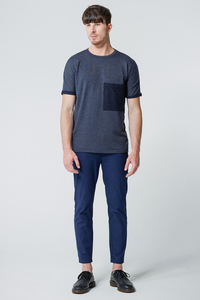 T-Shirt Oversized Pocket // Blaugrau - WIEDERBELEBT