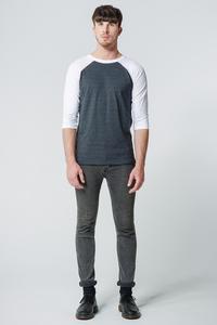 Shirt Kontrastdesign // Grau/Weiß - WIEDERBELEBT
