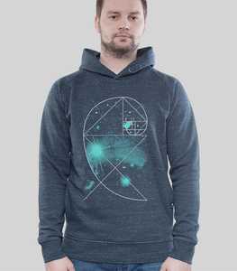 Hoodie Men Dark Heather Denim 'Universe' - SILBERFISCHER