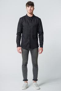 Jeansjacke/-hemd Oversized Pocket // Schwarz - WIEDERBELEBT