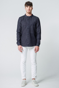 Jeansjacke/-hemd Oversized Pocket // Blau - WIEDERBELEBT