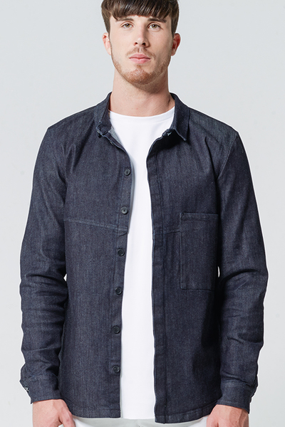 jeansjacke hemd oversized pocket blau von wiederbelebt. Black Bedroom Furniture Sets. Home Design Ideas