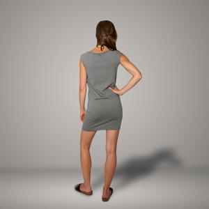 'Gecko' Bio-Kleidchen in Platingrau - shop handgedruckt