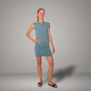 'Gecko' Bio-Kleidchen in Taubenblau - shop handgedruckt