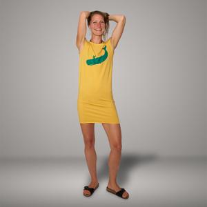 'Cowboy und Wal' Bio-Kleidchen in Maisgelb - shop handgedruckt