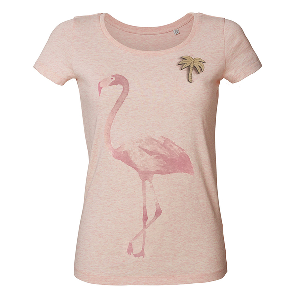 flamingo mit palme t shirt damen mit holzbrosche von what about tee bei avocado store. Black Bedroom Furniture Sets. Home Design Ideas