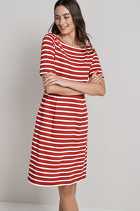 Stay Sail Dress Breton Brick Ecru  - Seasalt Cornwall