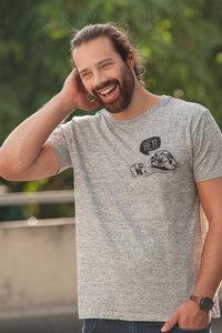 Hey Oskar Otter Brust - Männer T-Shirt  - Fair Wear - Navi Slub - päfjes