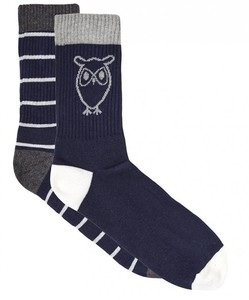 Organic Cotton Socks 2 Pack navy/stripe - Knowledge Cotton Apparel