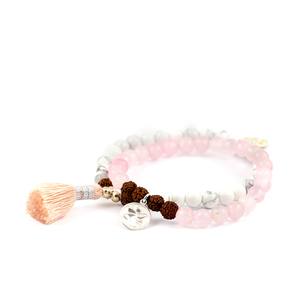 "Yoga Armbandset ""LOVE"" mit Rosenquarz und Howlith - oh bali"