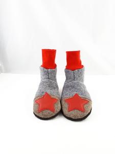 Gr.26/27 Schuhe aus Wolle mit Ledersohle und hohem Bündchen  - Süßstoff